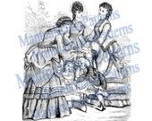 Five in One: Victorian Dress Engraving, Instant Digital Download, 1871 #12