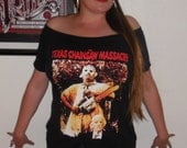 Texas Chainsaw Massacre Shirt only For Sale Horror Zombie Off the Shoulder Shirt Top  Dawn of the Dead Night of the Living Dead