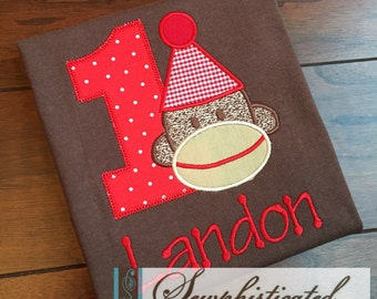 Sock Monkey Birthday Shirt - You Customize