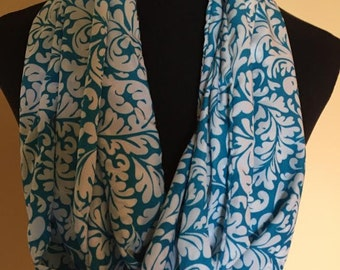 New Long Light Weight Leaf Design Aqua and White Infinity Scarf