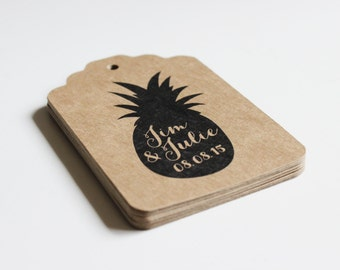 Custom Wedding Favor Tags  -  100 tags - Pineapple or Design of Your Choice - Kraft Brown Ornate Rectangles