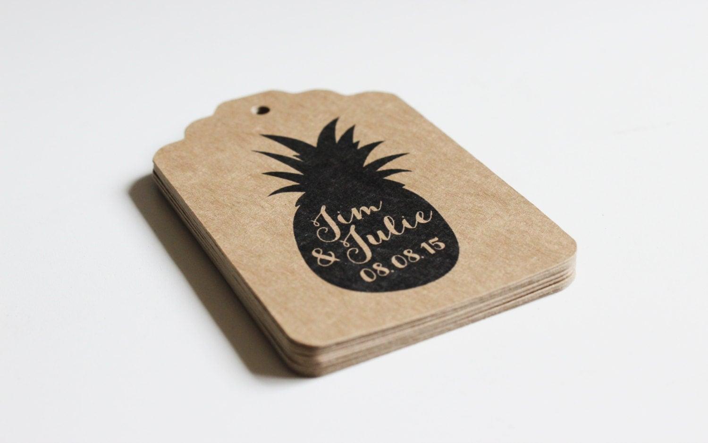 Wedding Favor Cards Tags : Custom Wedding Favor Tags 100 tags Pineapple or Design