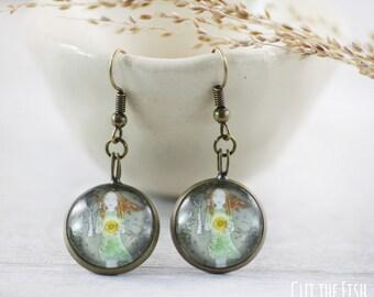 Teal Earrings - Earrings - Art Jewelry - Green Earrings - Sun Earrings - Unique Earrings - gifts for her (7-1E)
