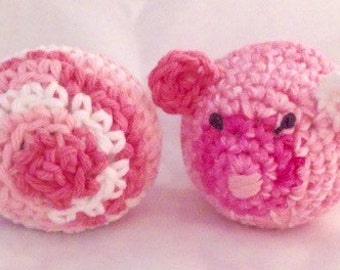 Crocheted Cat Toy Set (Pink mouse)