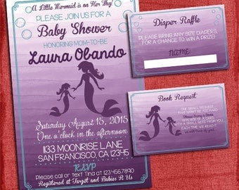 Mermaid Baby Shower Invitation Set -Invite + Diaper Raffle Ticket + Book Request  - Watercolor Style - I design you print