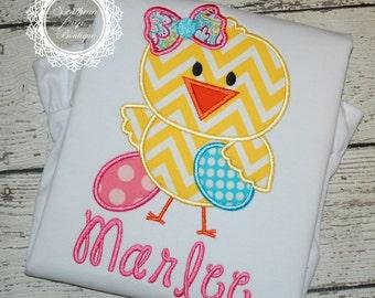 Easter Chick Girl - Girl's Easter Shirt - Holiday Applique Shirt