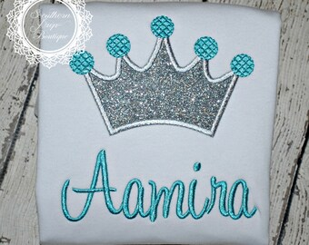 Girl's Crown Applique shirt with Name- Frozen Birthday Shirt - Princess Monogram