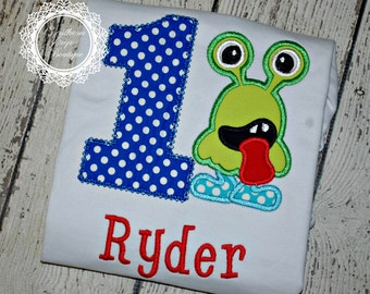 Two Eyed Monster Applique Shirt WITH NUMBER - BIRTHDAY Design - Monster Theme - Girl's or Boys Shirt - Custom Fabric colors available
