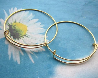 10pc Gold plated round bangle bracelets wires--size adjustable