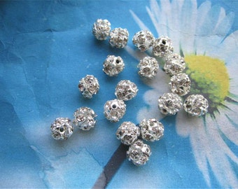 100pc 8mm white crystal disco ball spacer beads--Silver plated--shiny