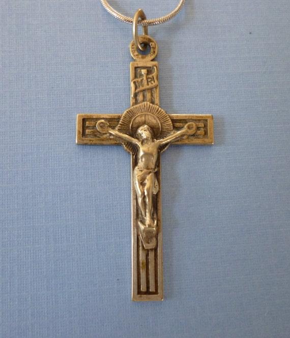 Catholic Crucifix Necklace: Antique Art Deco French Crucifix Pendant Necklace Catholic