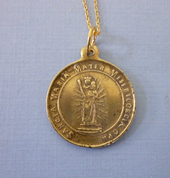 antique religious medal pendant necklace catholic