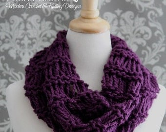 Knitting PATTERNS - Easy Cowl Knitting Pattern - Infinity Scarf Pattern - Easy Beginner Knitting Pattern - Circle Scarf Pattern - PDF 414