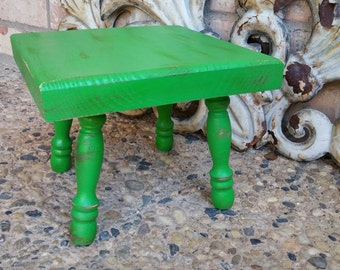 Funky Kids Room Decor, Green Distressed Foot Stool, Children's Stool, Teeth Brushing Step, Bright Kitsch Kitchen Stool