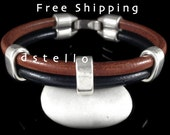 FREE SHIPPING - Men's leather bracelet, Double wrap, Mens jewelry bangle, Mens gift, Father's day, Personalized color, Spanish leather.