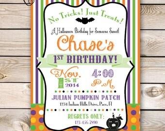 Halloween Birthday Invitation Costume Party Halloween Party Customizable 5x7 Invitation Pumpkin Patch Lil Pumpkin 1st Birthday Halloween