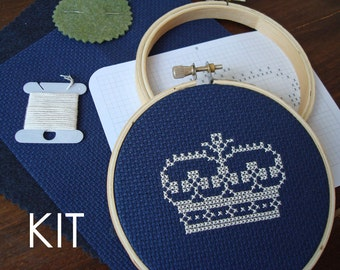DIY Kit | Crown cross stitch