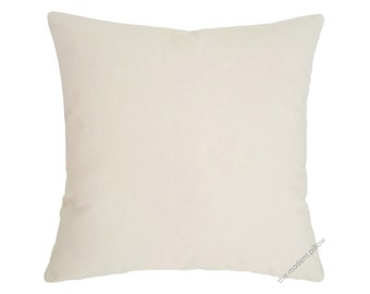 """Natural Ivory Beige Solid Cotton Decorative Throw Pillow Cover / Pillow Case / Cushion Cover / 20x20"""" Square"""