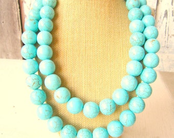 Double Strand Turquoise Necklace. Chunky Turquoise Howlite Statement Necklace. Turquoise Jewelry.Chunky Stone Statement Necklace. Bridesmaid