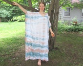 Long Caftan Dress Tie-dyed in Soft Green and Brown with White