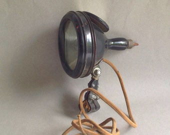 Antique Spotlight  - SLO GAS Lighting System - 1914 - Windshield Spotlight - Motorcycle - Boat Spotlight - Father's Day Gift