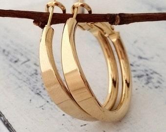 Gold hoop earrings, Gold earrings, Hoop earrings, Small gold hoop earring, Gold or silver, modern hoop earring, gift for her, everyday hoops