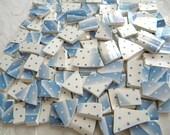 MOSAIC China Tiles - BLUE Stripes and Polka Dots - English Churchill Plates - 100 Tiles