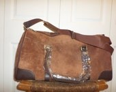 Vintage Leather Duffle Bag Brown Suede New Deadstock Carry On Overnight Bag Luggage 90s 80s New Never Used Gift
