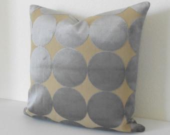 Gray and tan velvet dots pillow, DwellStudio dove plush dotscape decorative pillow cover