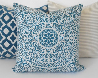 Dark teal and tan medallion decorative pillow cover