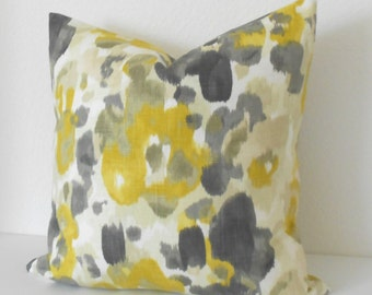 Both sides, Decorative pillow cover, DwellStudio,  citrine yellow floral pillow