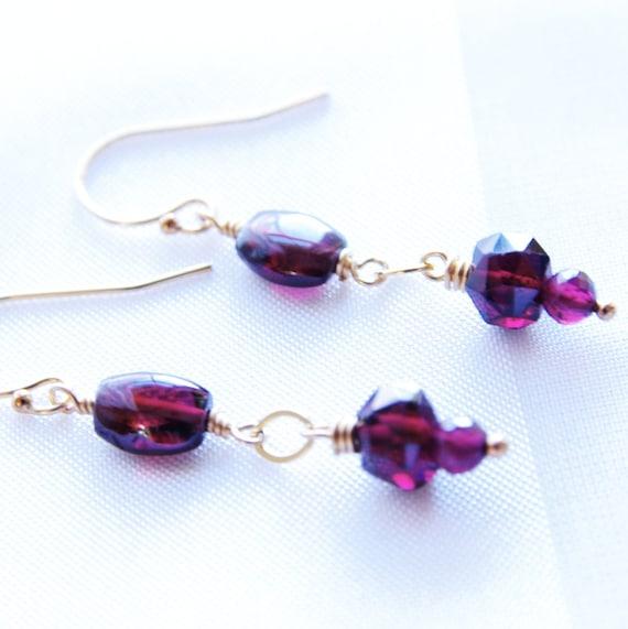 garnet earrings gemstone jewelry dangle earrings garnet