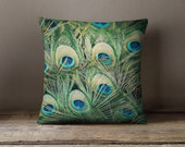 Peacock feathers Pillow cover - pillow case - peacock pillow case - peacock feathers - trendy throw pillow - peacock - feathers