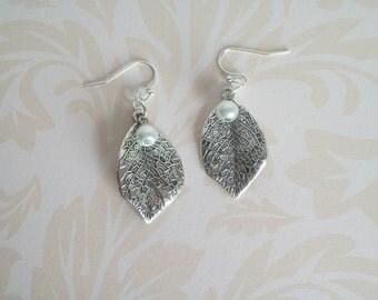 Leaf Earrings, Silver Leaf Earrings, Trees, Rain Forest, Birthday, Anniversary, Wedding, Christmas, Nature, Pearls,  Elegance