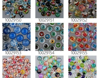 50PCS 12mm Mixed Round Flat Back Handmade Photo Glass Cabochon - Image Glass Cabochons 100291