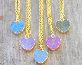 ON SALE!!! Gold Dipped Heart Druzy Necklaces