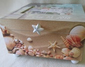 Beach Themed Picture Frame Keepsake Box - Personalized Large Keepsake Box - Sand and Shells - Shower Gift - Wedding Gift
