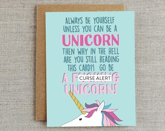 Funny Friendship Card, Encouragement Card, Unicorn Card, Card for Friend, Card for Her, Card for Him, Card for Girlfriend, Colourful Card