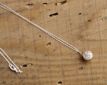 layered necklace, Pompom Pendant necklace in silver , silver  necklace