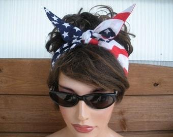 American Flag Headband 4th July Headband Summer Fashion Accessories Women Headband Dolly Bow Headband Headwrap Bandana