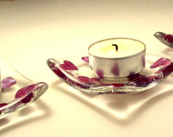 Heart Tealight Candle Holders/Dishes. Handmade Fused Glass with Copper Heart Inclusions 7 x 7 cm