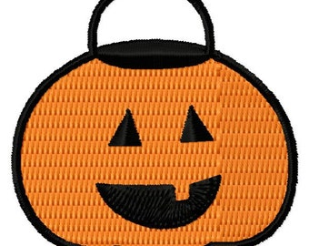 Small Pumpkin Trick or Treat Bag Embroidery Design - Instant Download