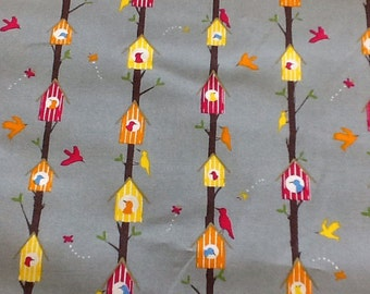 Bird houses in grey by the metre 100% cotton craft fabric