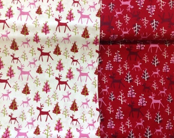 Copenhagen print rudolf in red or white by the half metre 100% cotton