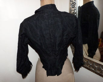 Victorian jacket blouse Antique French black boned jacket w jet stone bead buttons, lace, 1800s gothic steampunk clothing goth women jacket