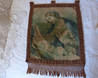 Antique religious oil painting banner w mother and child, holy virgin Mary on linen, French 1800s, Holy mother Marie madonna, European art