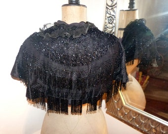 Antique Victorian silk capelet cape collar capeline w jet stone beads, elegant French handmade clothing, black gothic steampunk clothing