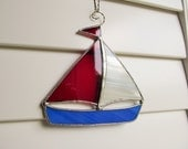 Nautical Sailboat Sun Catcher - Handcrafted Authentic Stained Glass in Scarlet and White - Nautical Decor  - Beach House - Curly Hanger