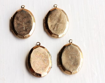 Gold Faceted Lockets (4x)