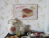 Strawberries and Cream Sign/Print for Dollhouse Mniature